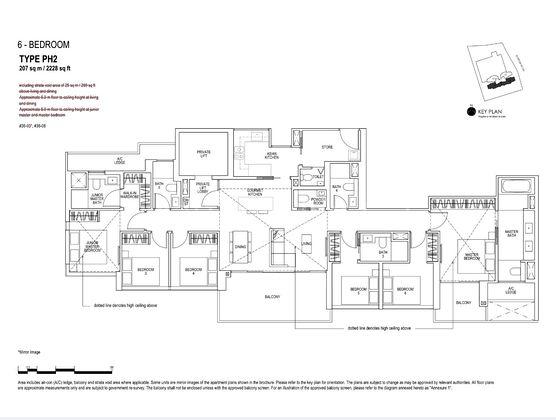 Type PH2-6 Bedroom Penthouse (Single Level) 2,228 Sqft