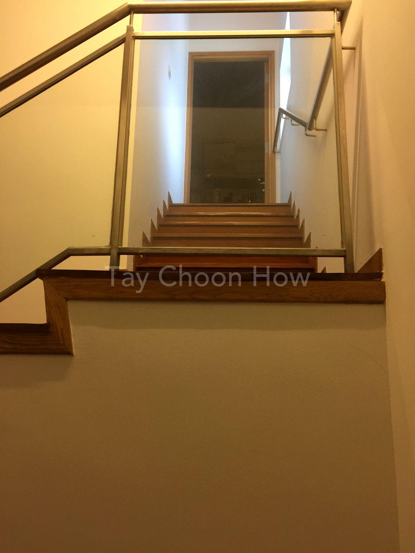 Stairways to upper floor with private access door