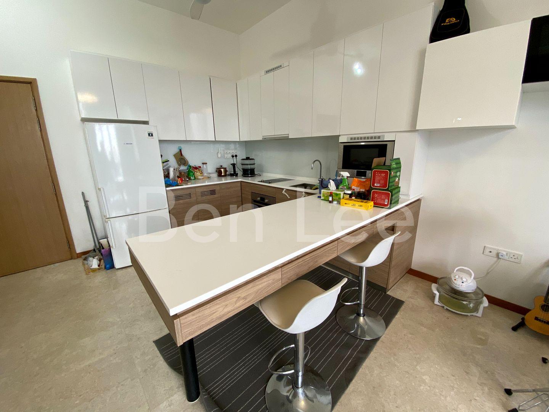 Modern open concept kitchen with oven, washer cum dryer, fridge,microwave