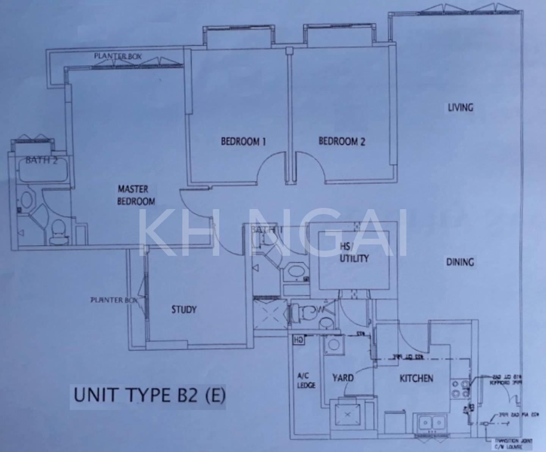 Floor plan of a spacious 1399sqft 3Rm + Study