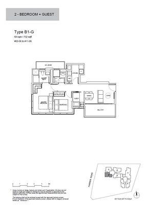 Type B1-G-2 Bedroom + Guest 732 Sqft