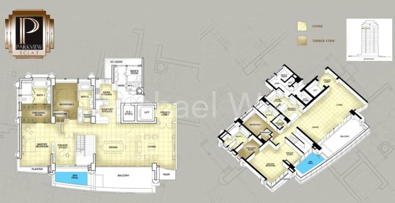 Parkview Eclat Duplex Penthouse #1x-02/5898sqft (Lower)